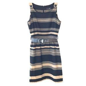 No sleeve, black and beige striped dress w/belt